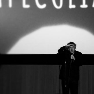 Tim Burton speaking before the screening.